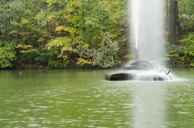 Шлейф воды и тумана от декоративного фонтана, построенного в центре озера с густыми зелеными лесными деревьями.