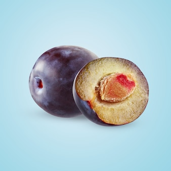 Plums  on blue