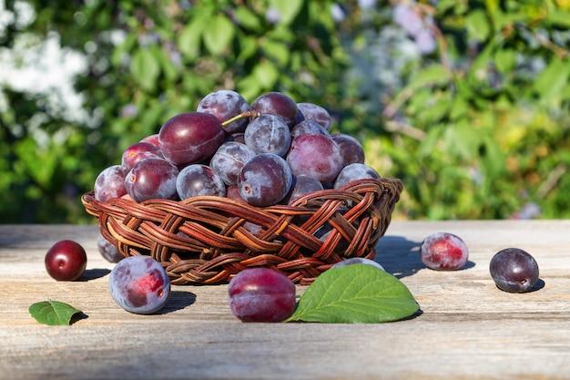 夏の庭の木製のテーブルの上に花瓶の梅。季節のフルーツ。