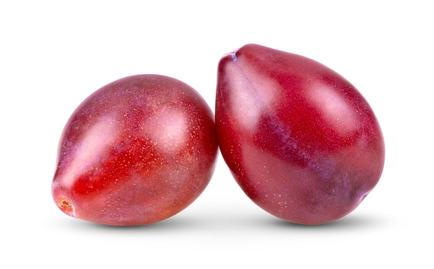 プラムプラムプルーンフルーツは白い背景で隔離