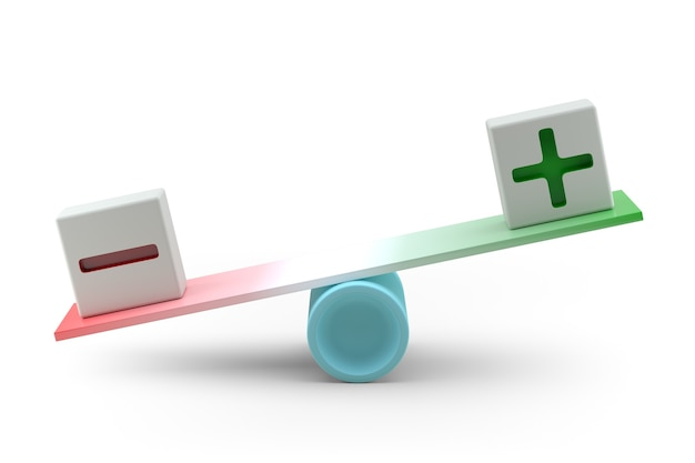 균형 개념의 플러스와 마이너스 3d 렌더링