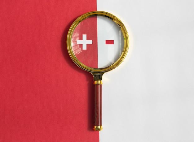 빨간색과 흰색 배경에 돋보기를 통해 더하기 및 빼기 기호. 긍정적이고 부정적인 개념, 장단점을 비교합니다.