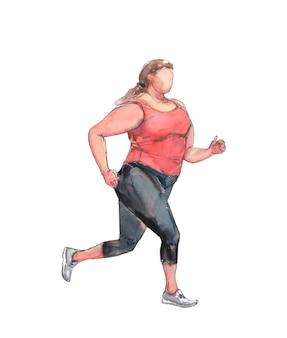プラスサイズの女の子がスポーツウェアとスニーカーで走る