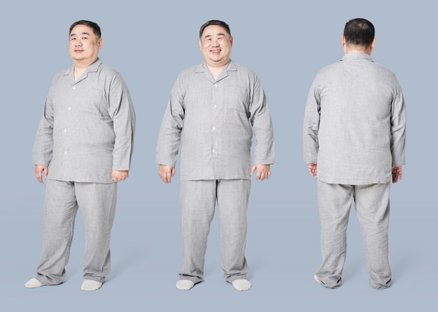플러스 사이즈 모델 회색 잠옷 의류 전신