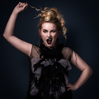 Plus size model with a daring emotion on her face