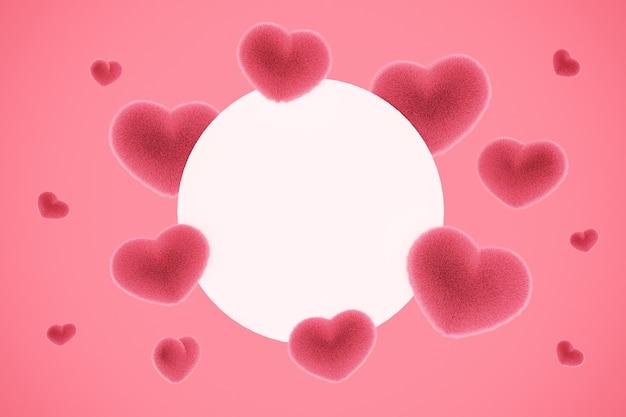 Плюшевые пушистые сердечки образуют рамку с местом для текста для любовного послания