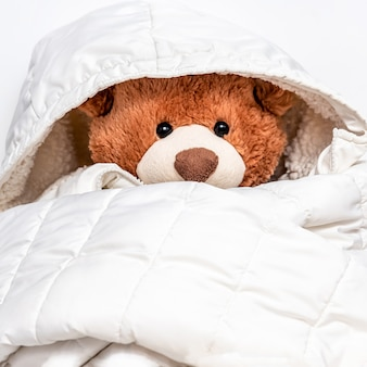 Plush stuffed toy dressed in childs big white jaket. soft teddy bear prepared for winter or autumn colds. love and care, cuddly for nursery.