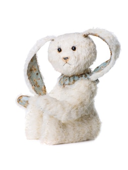 봉제 장난감 흰 토끼 흰색 배경에 고립