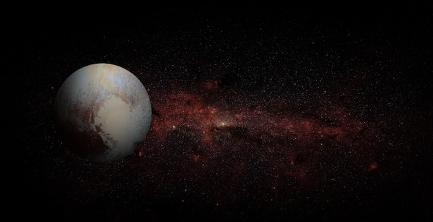 Pluto on space background. elements of this image furnished by nasa.