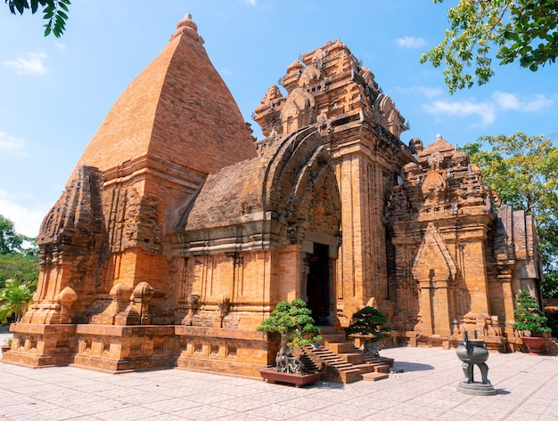 Po nagar cham tower, ancient temple at nha trang, vietnam in summer daylight with blue sky