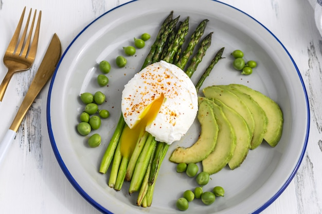 Poached eggs with asparagus, avocado and green peas