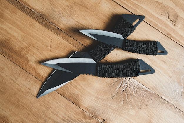 Pocket knives on the desk