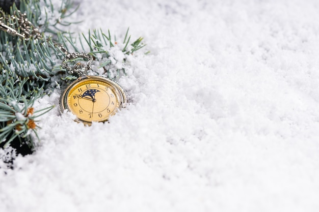 Pocket watch in snow beside decorated evergreen