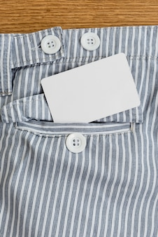 Pocket with a credit card or calling card or name card
