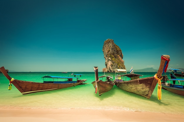Poda island beach and long tail boats at krabi in thailand