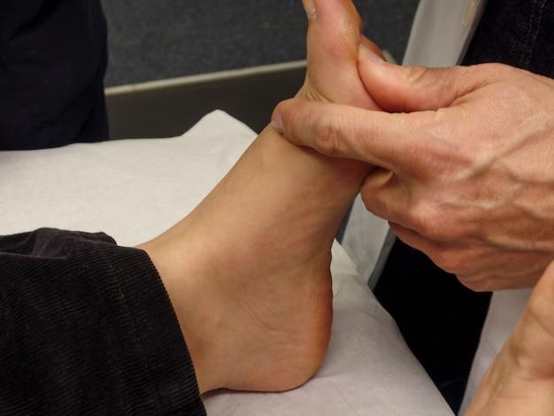 足病学および生体力学のクラスの教師は、学生にさまざまな技術を教えます