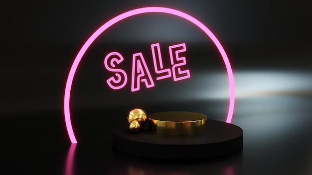 Podio para mostrar producto dorado con luces de nen escrito ventas