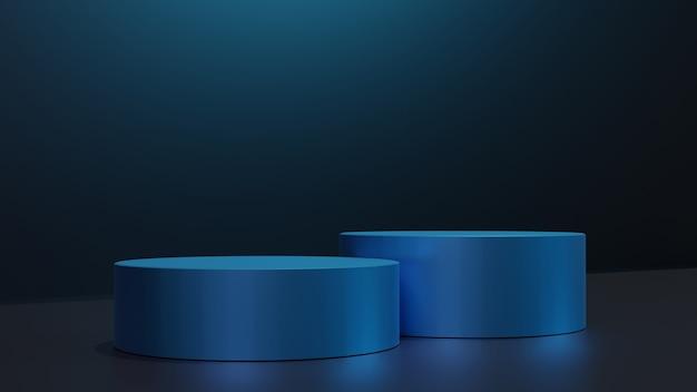 제품 프레젠테이션을 위한 연단 3d 렌더링 파란색 모양