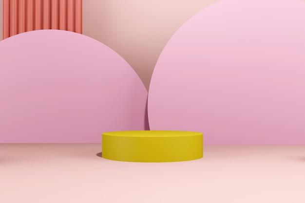 Подиум абстрактный фон. геометрическая форма. розовые пастельные цвета сцены. минимальный 3d-рендеринг. сцена с геометрическим фоном. 3d визуализация