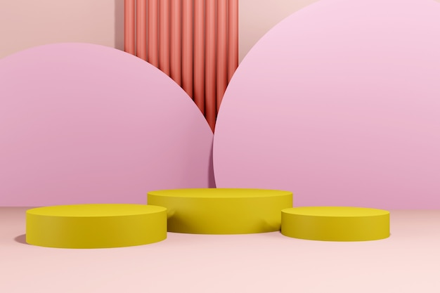 연단 추상적 인 배경입니다. 기하학적 모양. 핑크 파스텔 색상 장면. 최소한의 3d 렌더링. 기하학적 배경을 가진 장면입니다. 3d 렌더링