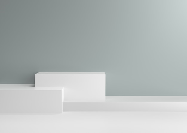 Podium in abstract cool mint relaxing color schemes, 3d render.