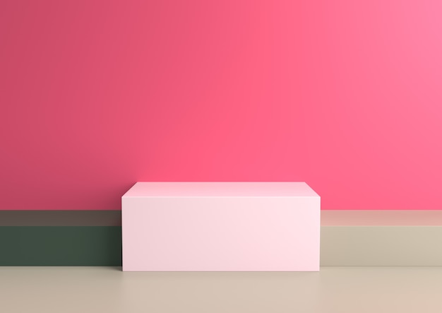 Podium in abstract naturalist palette ranges composition, 3d render.