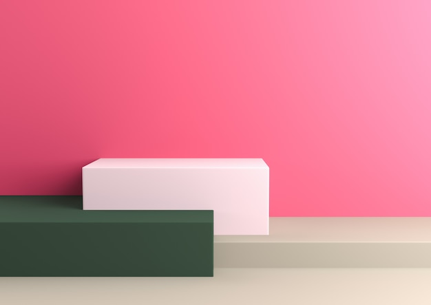 Podium in abstract naturalist palette ranges composition, 3d render