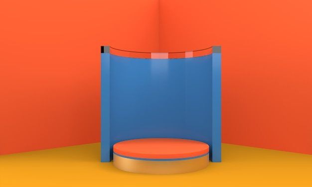 Podium in abstract orange composition