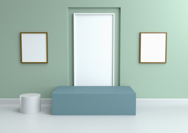 Podium in abstract vintage mint relaxing color schemes, 3d render.