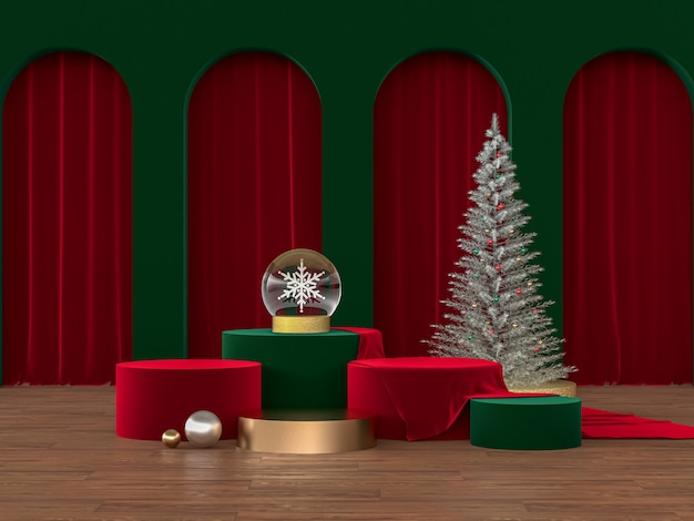 Podium backdrop with christmas concept
