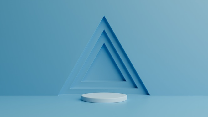 Podium on blue. 3d rendering