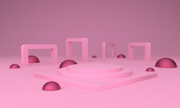 Podium design 3d illustration with square arch pink design