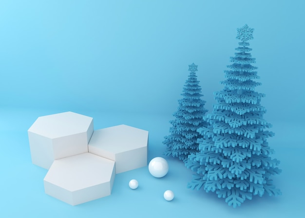 Podium display for product presentation, blue christmas trees