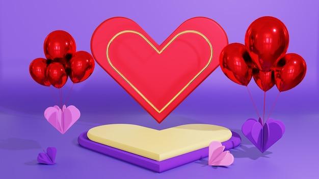 風船と赤い愛の背景を持つ表彰台のディスプレイ製品のプレゼンテーション