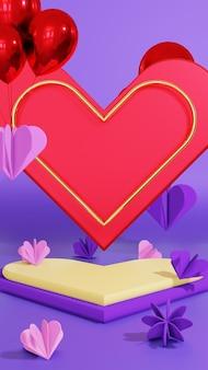 愛の飾りが付いた表彰台のディスプレイ製品のプレゼンテーション
