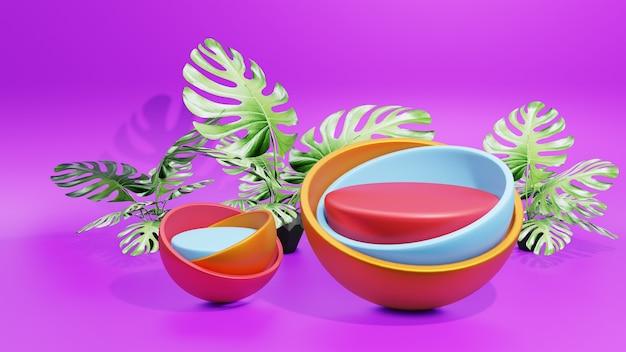 モンステラの葉と紫色の背景を持つ表彰台のディスプレイ製品のプレゼンテーション