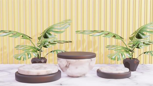 モンステラの葉の黄色の背景を持つ表彰台のディスプレイ製品のプレゼンテーション