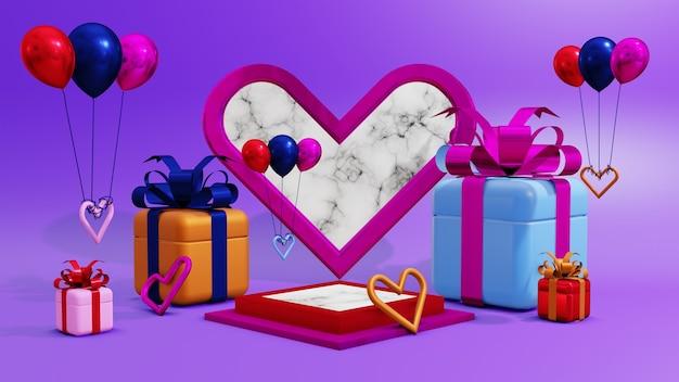 紫色の背景の風船で表彰台のディスプレイ製品のプレゼンテーション