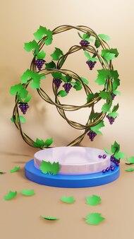 葡萄植物飾り付き表彰台展示品