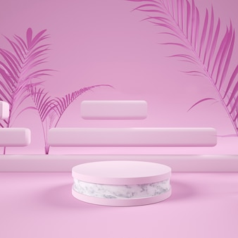 Podium display or showcase mockup for product in pink background with paper leaves