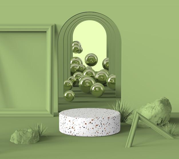 Подиумная витрина белого терраццо для показа косметики или продукта на пастельно-оливково-зеленом