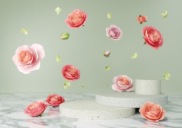 꽃과 함께 연단 디스플레이