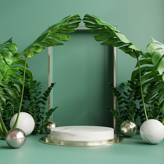Podium display with monstera leaves and spheres