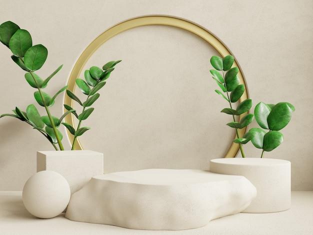 Display a podio con presentazione del prodotto, rendering 3d