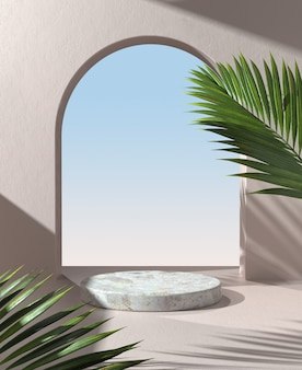 Podium display with sunlight shadow palm foliage on beige mortar wall background 3d render