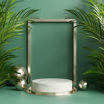 Podium display with tropical leaves