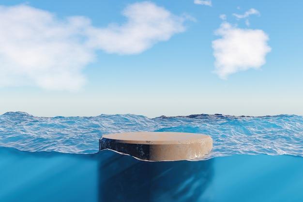 Подиум для демонстрации продукции на поверхности моря и подводный вид с каустиками