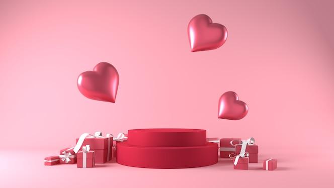 装飾が施されたバレンタインデーのプロダクトプレースメントの表彰台