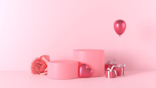 발렌타인 데이 장식으로 제품 배치를위한 연단