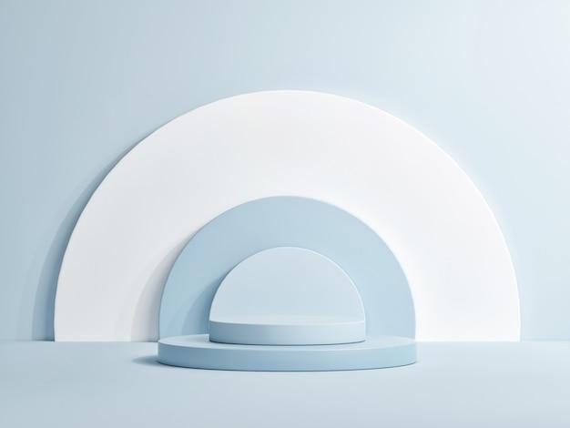製品プレゼンテーションの表彰台。ショールーム、展示室の3dレンダリング。青い背景、3dレンダリング、3dイラスト
